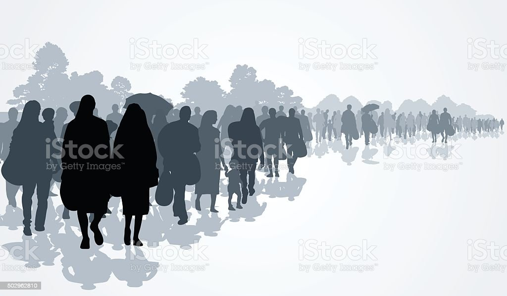 Refugees vector art illustration