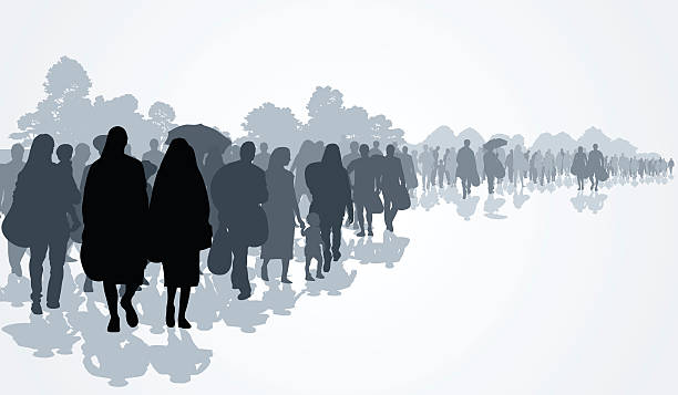 Refugees Silhouettes of refugees people searching new homes or life due to persecution. Vector illustration escaping stock illustrations