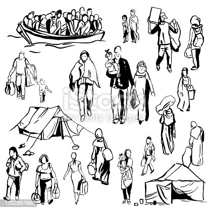 istock Refugees. Vector   illustration. 1202697666