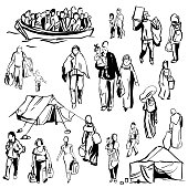 Hand drawn refugees. Vector sketch  illustration.