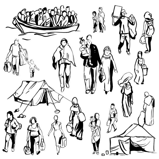 flüchtlinge. vektor-illustration. - menschliches körperteil stock-grafiken, -clipart, -cartoons und -symbole