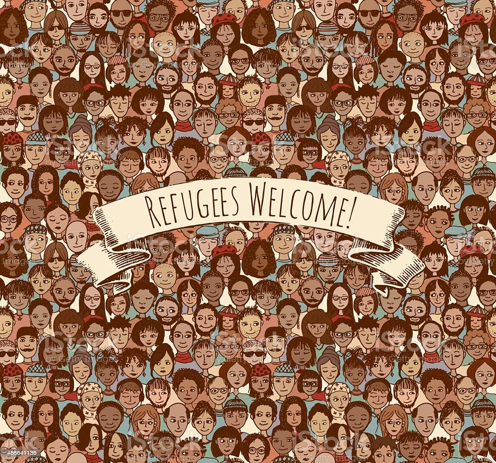 Refugees Welcome! vector art illustration