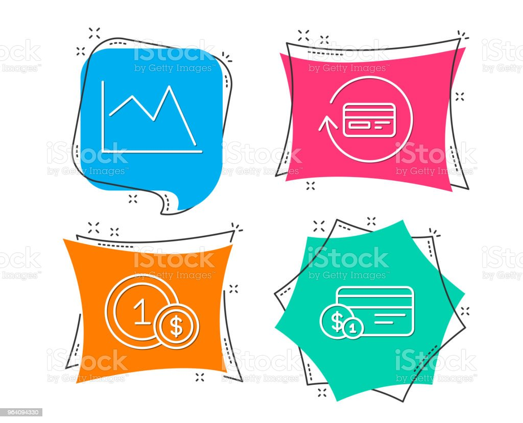 Refund commission, Line chart and Usd coins icons. Payment method sign. - Royalty-free Analyzing stock vector