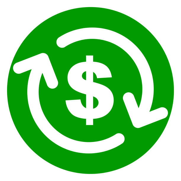 refund money green circle icon Illustration of refund money green circle icon refund stock illustrations