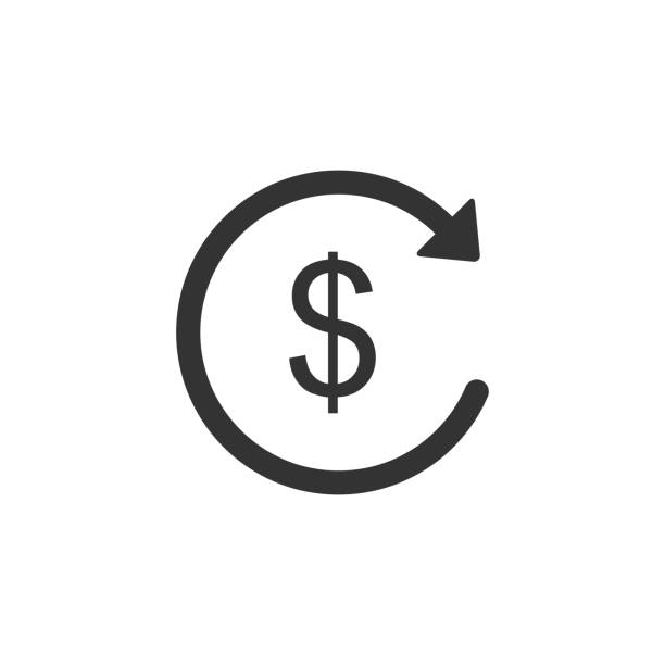 Refund money icon isolated. Financial services, cash back concept, money refund, return on investment, savings account, currency exchange. Flat design. Vector Illustration Refund money icon isolated. Financial services, cash back concept, money refund, return on investment, savings account, currency exchange. Flat design. Vector Illustration refund stock illustrations