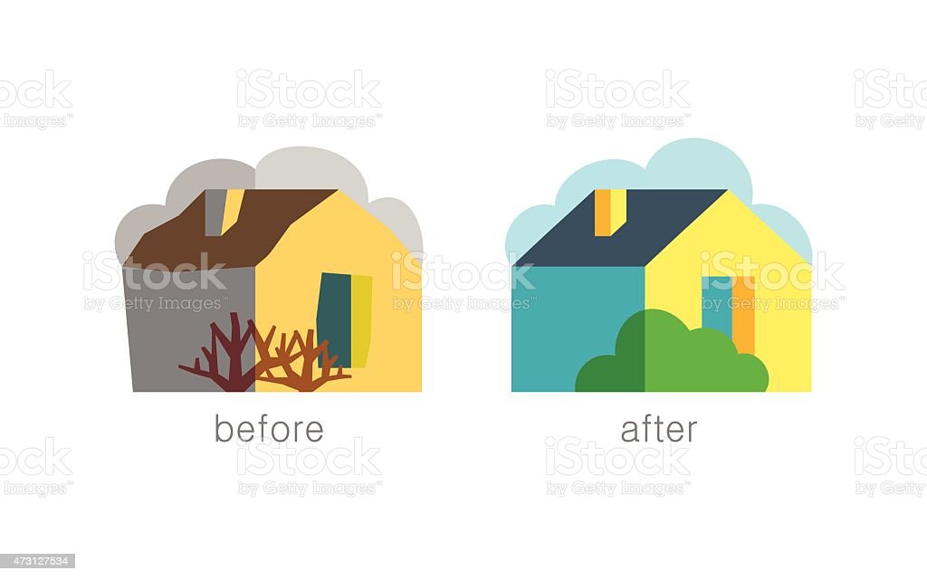 Refurbished house with garden - before/after vector art illustration