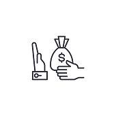 Refusal of a bribe line icon, vector illustration. Refusal of a bribe linear concept sign.