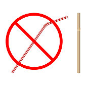 refusal of disposable plastic drinking straw in favor of reusable bamboo drinking straw, stop sign on white background, ban plastic drinking straw, stock vector illustration