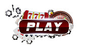 Reg round play button with metallic border on white background. Casino playing cards, dice and chips. Online casino poker concept design. 3d vector illustration.