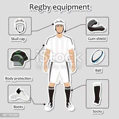 Regby player uniform and equipment