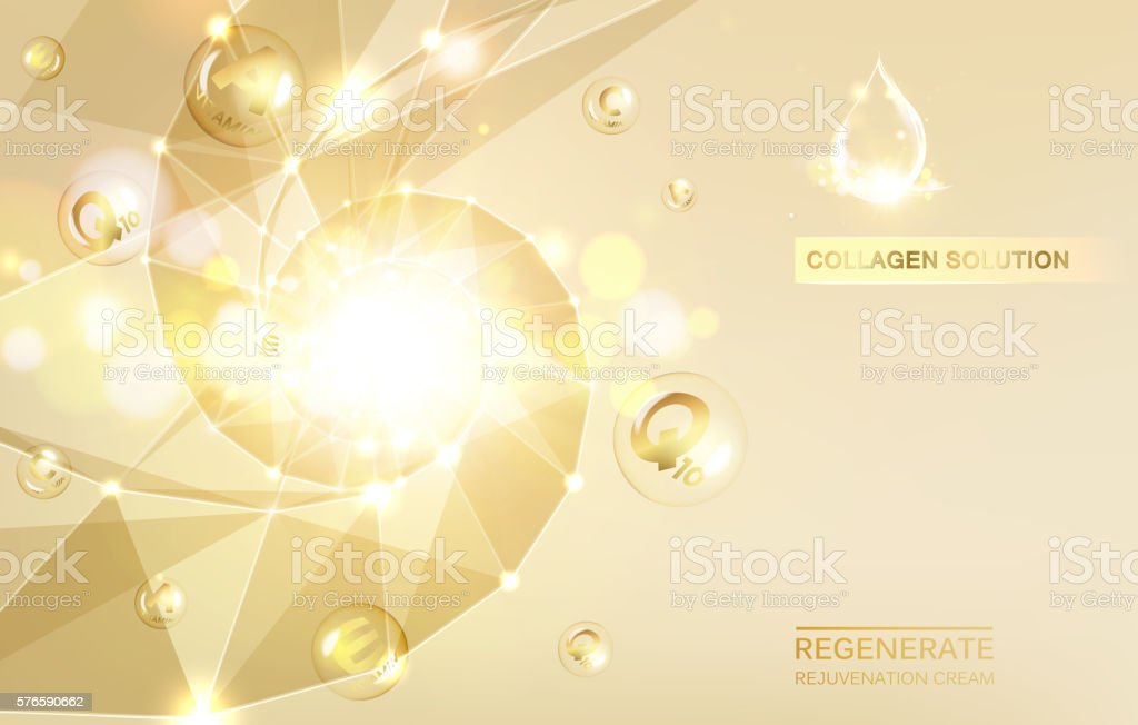 Regenerate cream and Vitamin. vector art illustration
