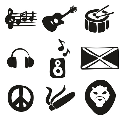 Reggae Icons Freehand Fill