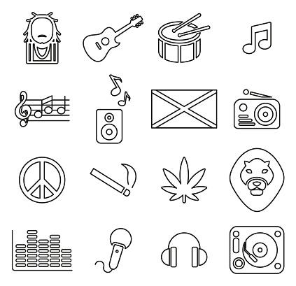 Reggae Music & Culture Icons Thin Line Vector Illustration Set
