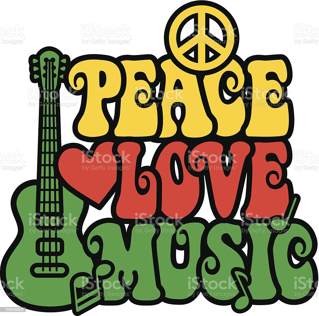 Reggae Peace Love Music vector art illustration
