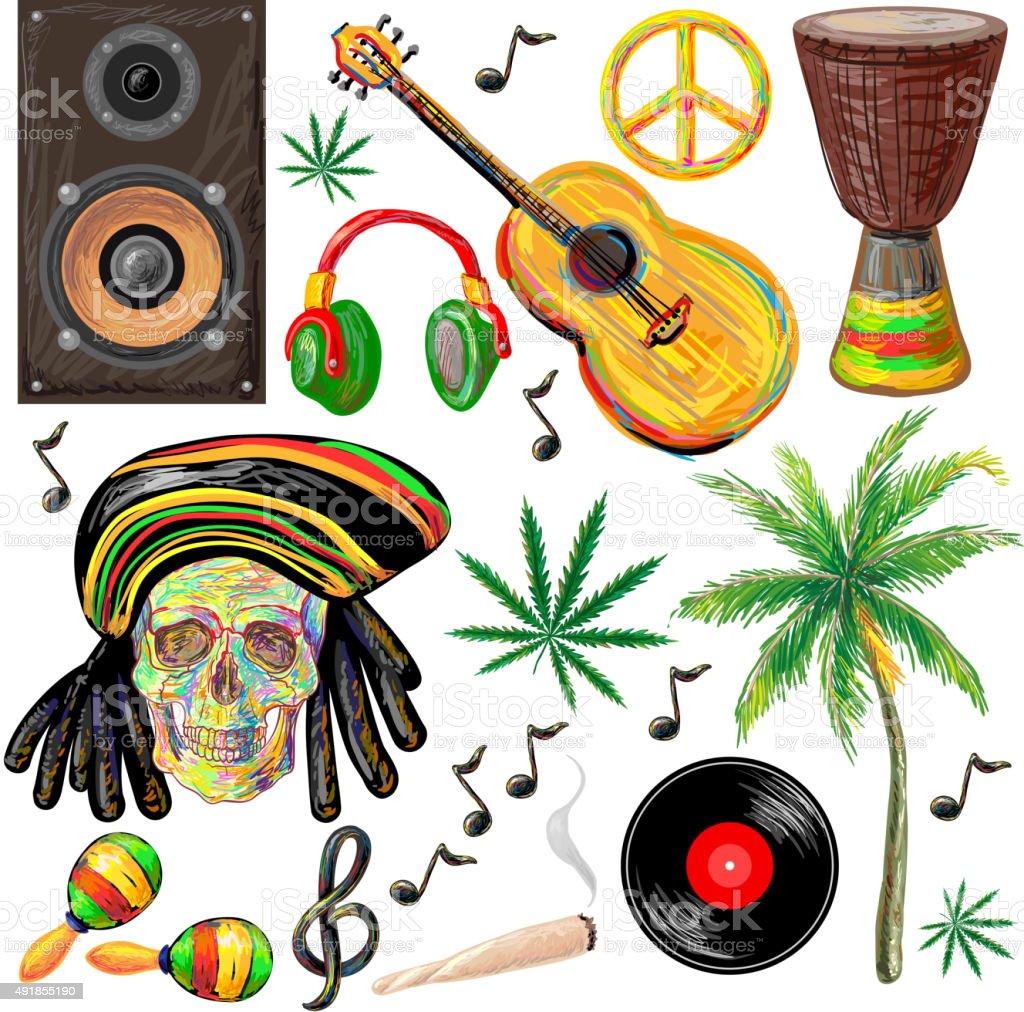 Reggae set vector art illustration