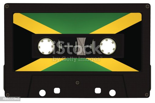 High detailed illustration of tape with reggae colors isolated on white background.