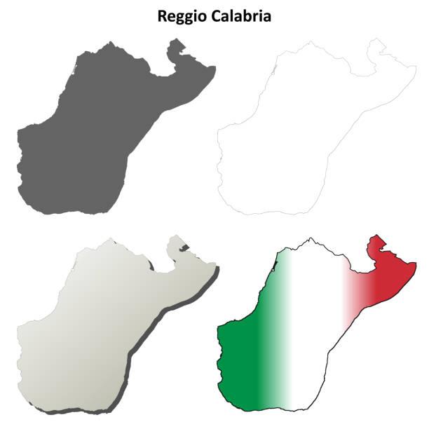 Reggio Calabria blank detailed outline map set Reggio Calabria province blank detailed outline map set reggio calabria stock illustrations