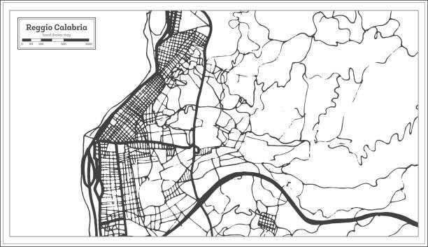 illustrazioni stock, clip art, cartoni animati e icone di tendenza di reggio calabria italy city map in retro style. outline map. - calabria