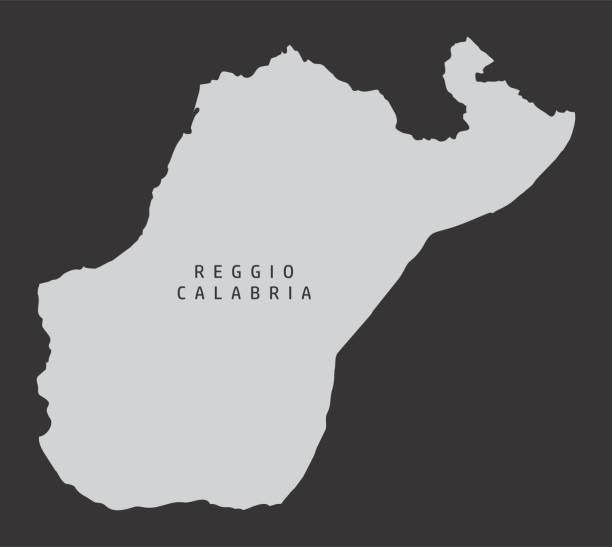 Reggio Calabria province map The Reggio Calabria province gray silhouette map isolated on dark background, Italy reggio calabria stock illustrations