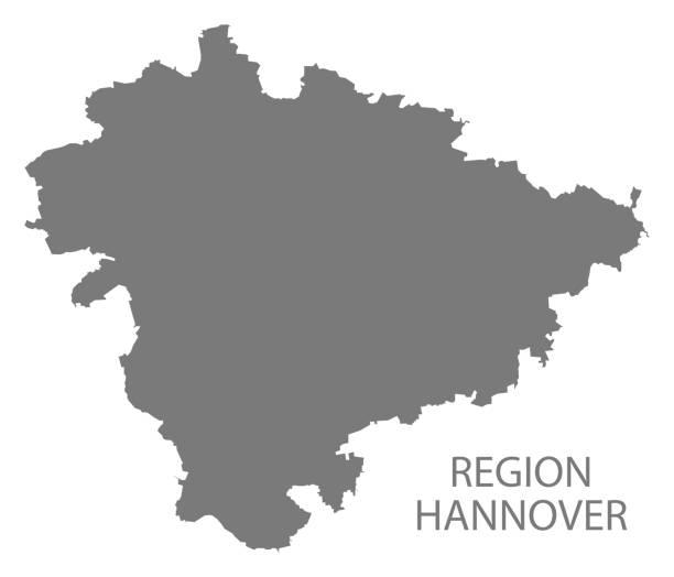 region hannover graue kreiskarte niedersachsens deutschland de - hannover stock-grafiken, -clipart, -cartoons und -symbole