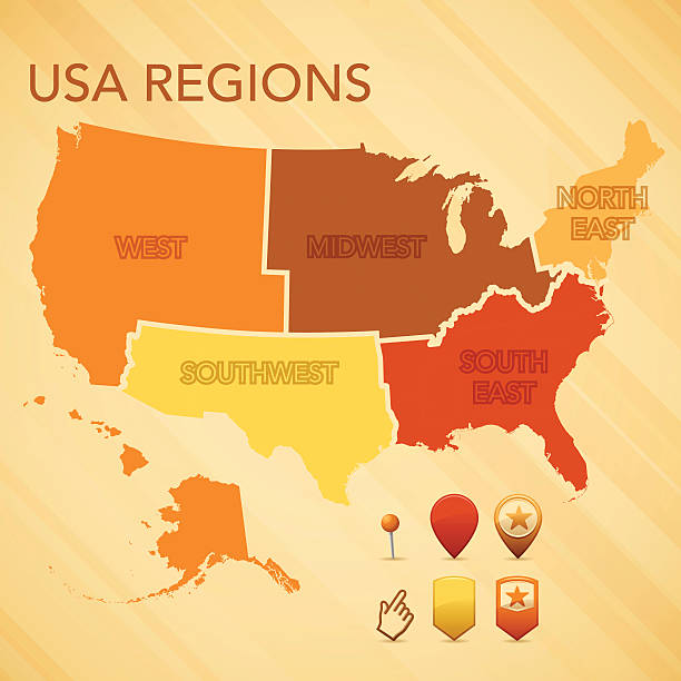 USA Region Map vector art illustration