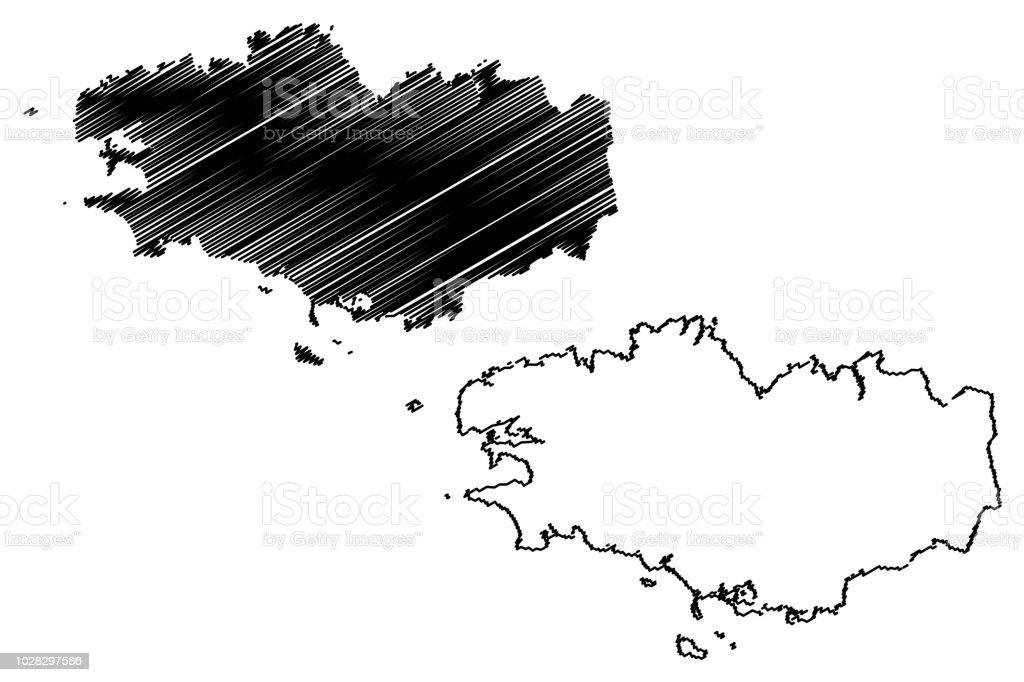 Région du vecteur de carte de Bretagne - Illustration vectorielle