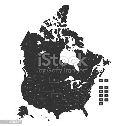 Regional map of USA states and Canada provinces with labels vector illustration. Gray background.