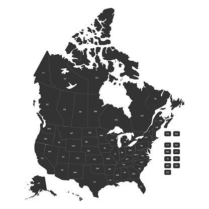 Regional map of USA states and Canada provinces with labels.