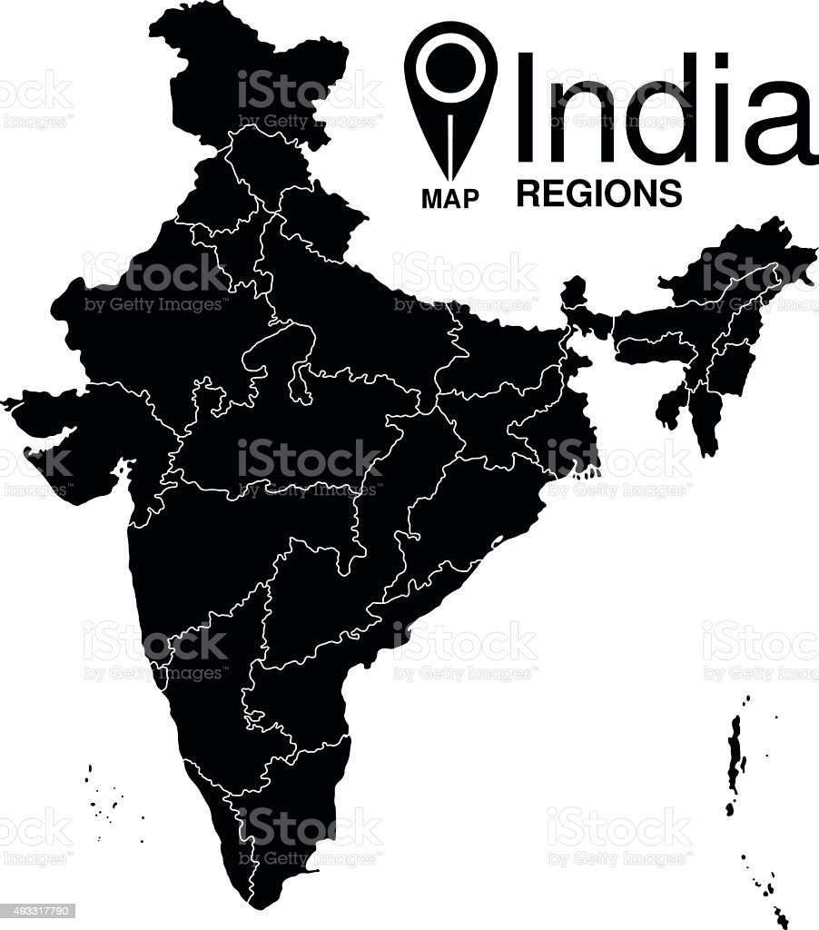 Regions map of India. Republic of India map vector art illustration