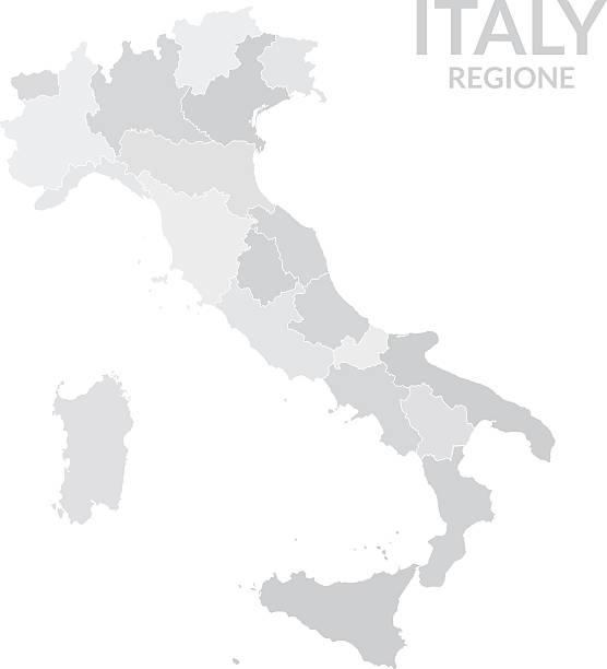 regionen karte von italien grau - toskana stock-grafiken, -clipart, -cartoons und -symbole