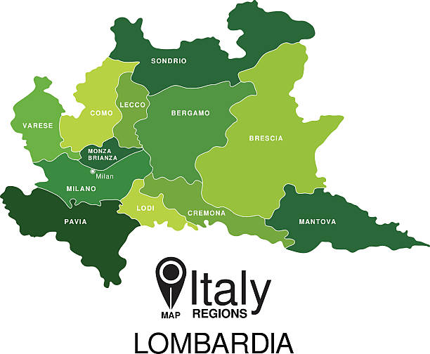 stockillustraties, clipart, cartoons en iconen met regions map of italy. mappa delle regione lombardia - lecco lombardije