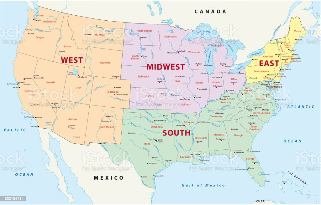 Picture of: Regions Map Of The United States Stock Illustration Download Image Now Istock