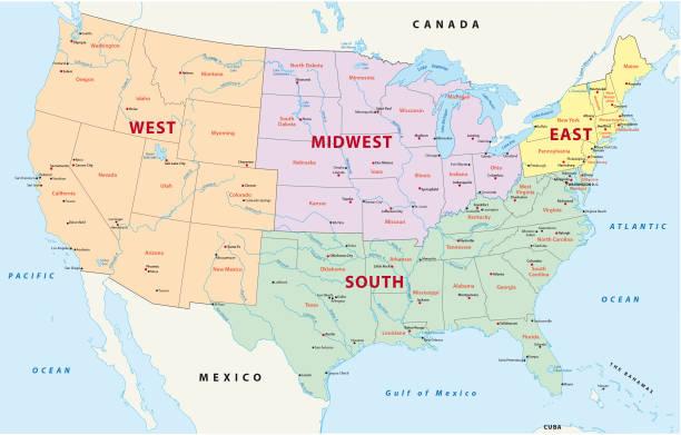 stockillustraties, clipart, cartoons en iconen met kaart van de regio's van de verenigde staten - oost