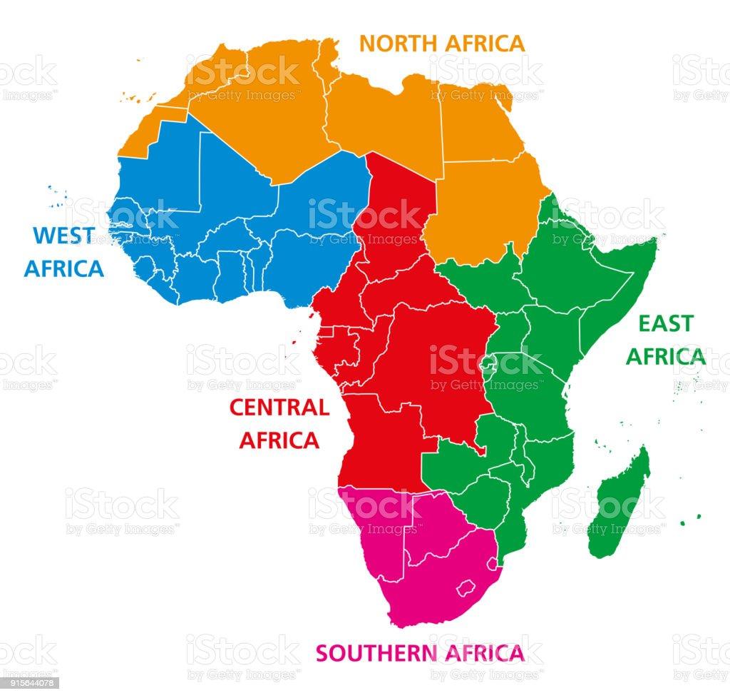 Regions of Africa political map vector art illustration