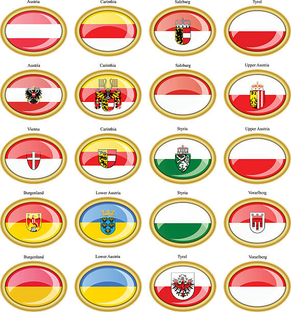 bildbanksillustrationer, clip art samt tecknat material och ikoner med regions of austria flags - salzburg