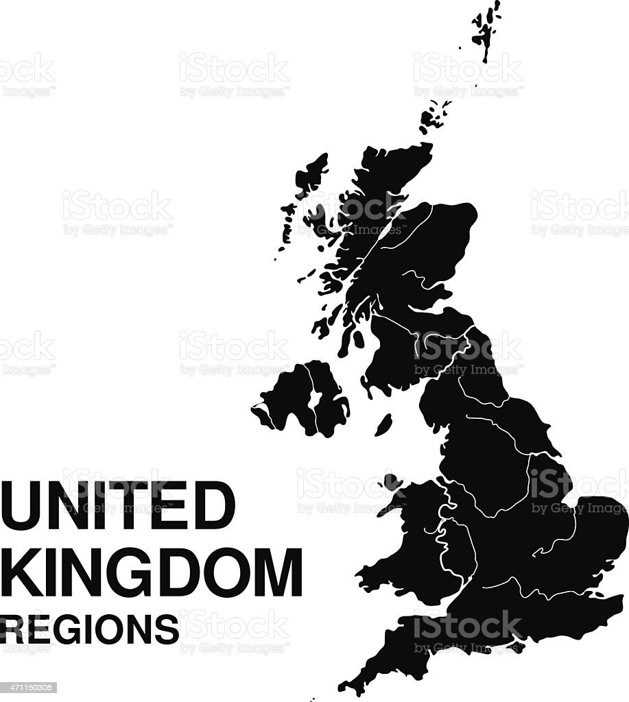 Regions of England vector art illustration
