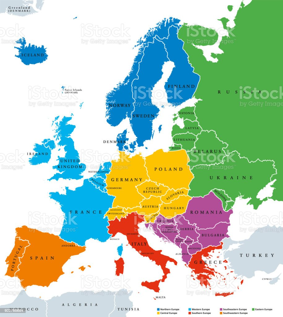 Map Of Italy English.Regions Of Europe Political Map Single Countries English Labeling