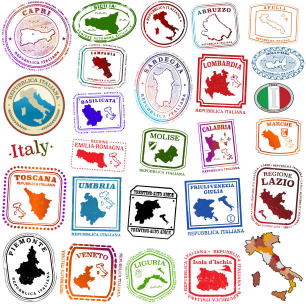 illustrazioni stock, clip art, cartoni animati e icone di tendenza di regions of italy tavel stamps - sardegna