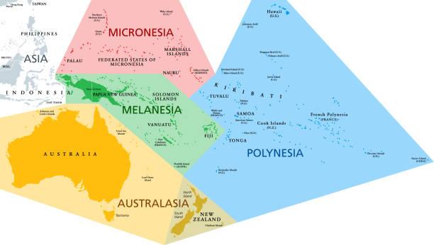 Regions of Oceania, political map vector art illustration