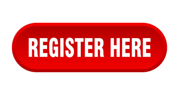 register here button. register here rounded red sign. register here - kasa fiskalna stock illustrations