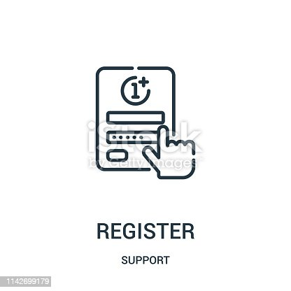 register icon vector from support collection. Thin line register outline icon vector illustration. Linear symbol for use on web and mobile apps, logo, print media.