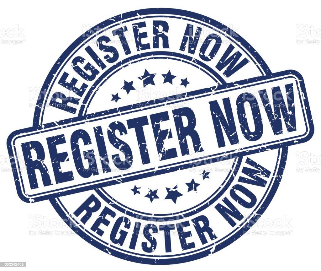 register now blue grunge stamp vector art illustration