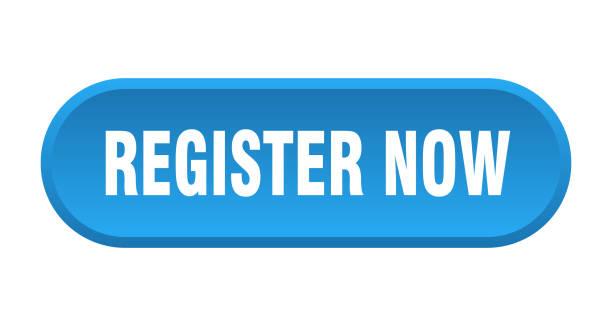register now button. register now rounded blue sign. register now vector art illustration