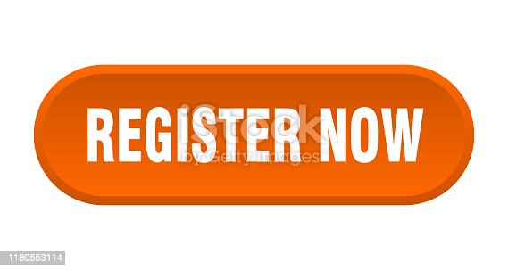 register now button. register now rounded orange sign. register now