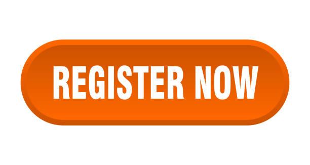 register now button. register now rounded orange sign. register now vector art illustration