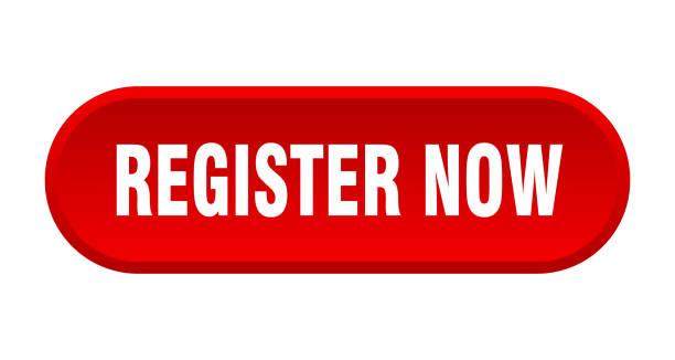 register now button. register now rounded red sign. register now vector art illustration