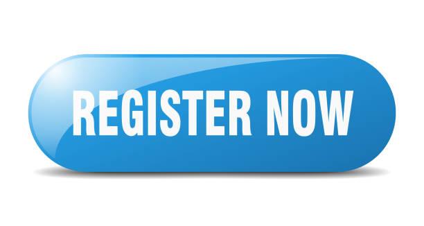 register now button. register now sign. key. push button. vector art illustration