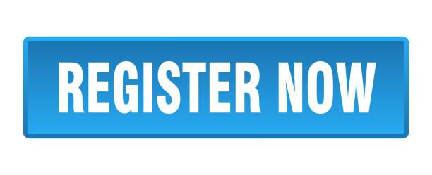 register now button. register now square blue push button vector art illustration