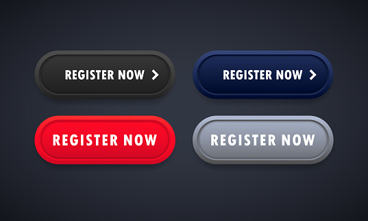 Register now button set. For website. Registration. Vector on isolated background. EPS 10.