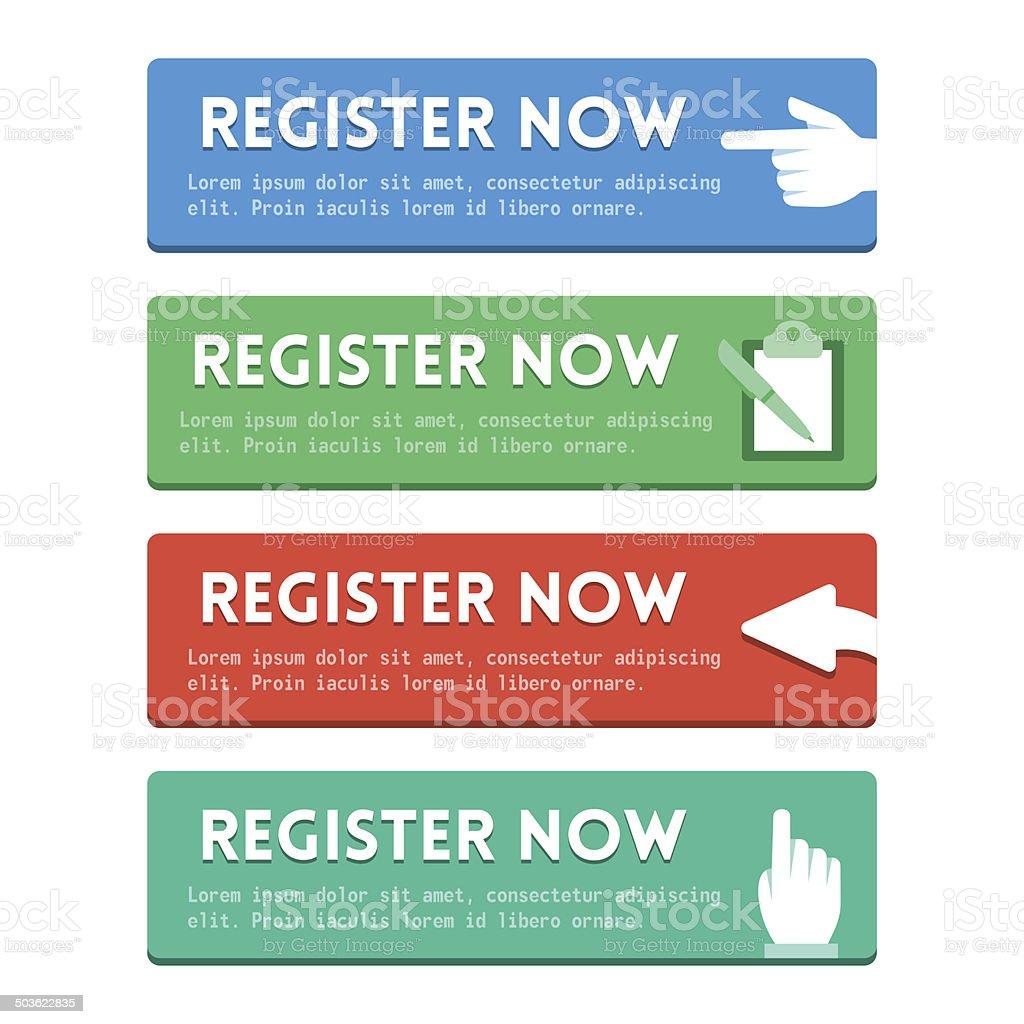 'Register now' flat buttons set vector art illustration